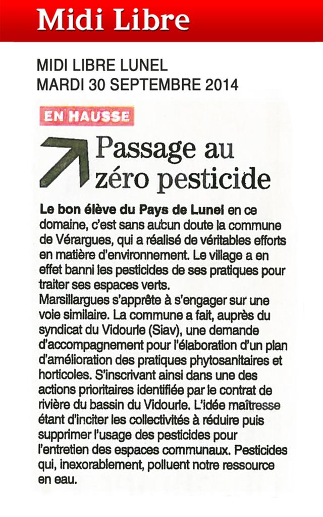 Zero pesticide : vérargues et marsillargues, les bons élèves du bassin versant