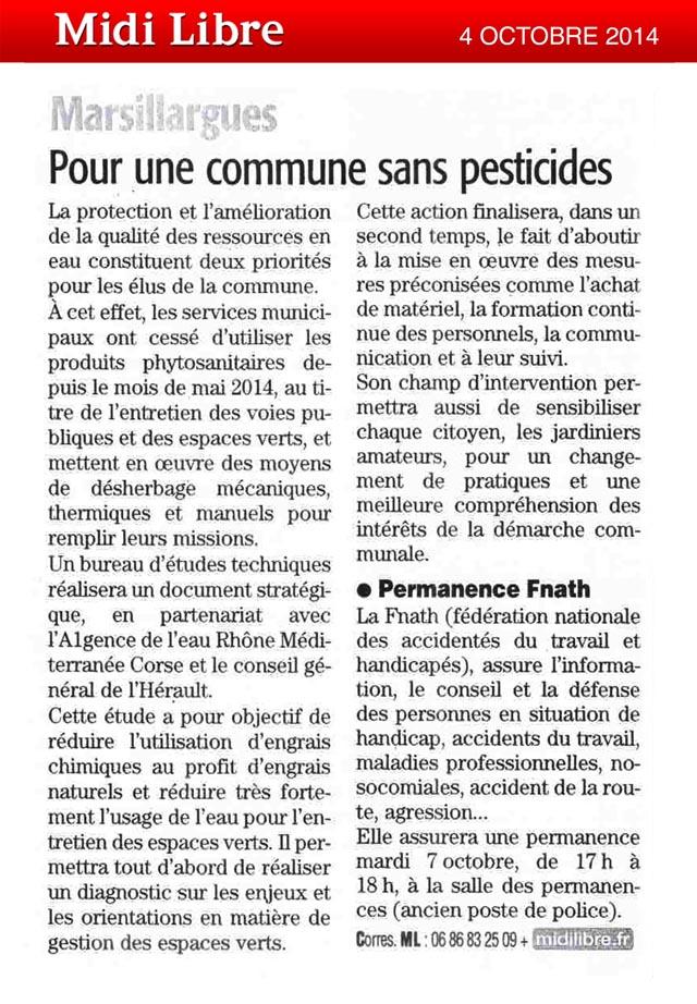 L'EPTB Vidourle accompagne marsillargues dans sa démarche Zéro Pesticide