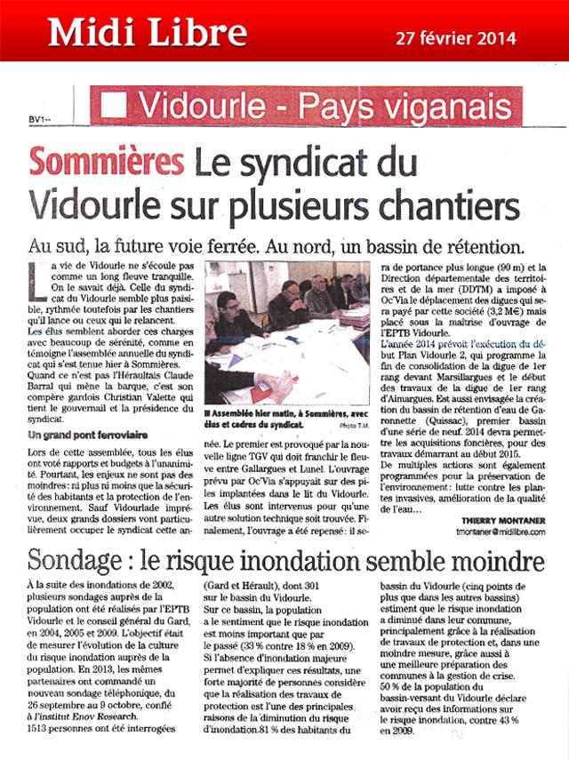 Comité syndical à Sommières et sondage sur la perception du risque inondation 27-02-2014
