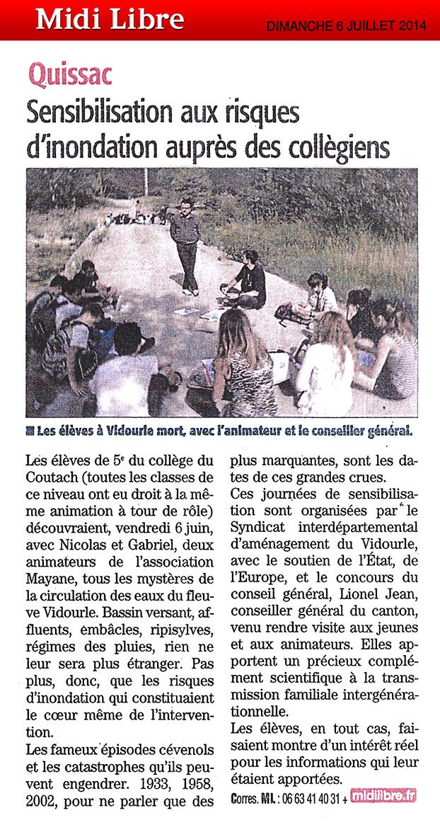 Grâce à l'action de sensibilisation des scolaires aux risques inondations, le Vidourle n'a plus de secrets pour les collégiens du bassin versant.
