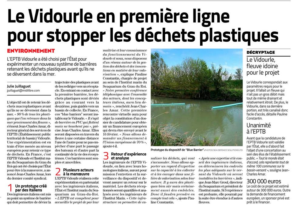 Le Vidourle en première ligne pour stopper les déchets plastiques