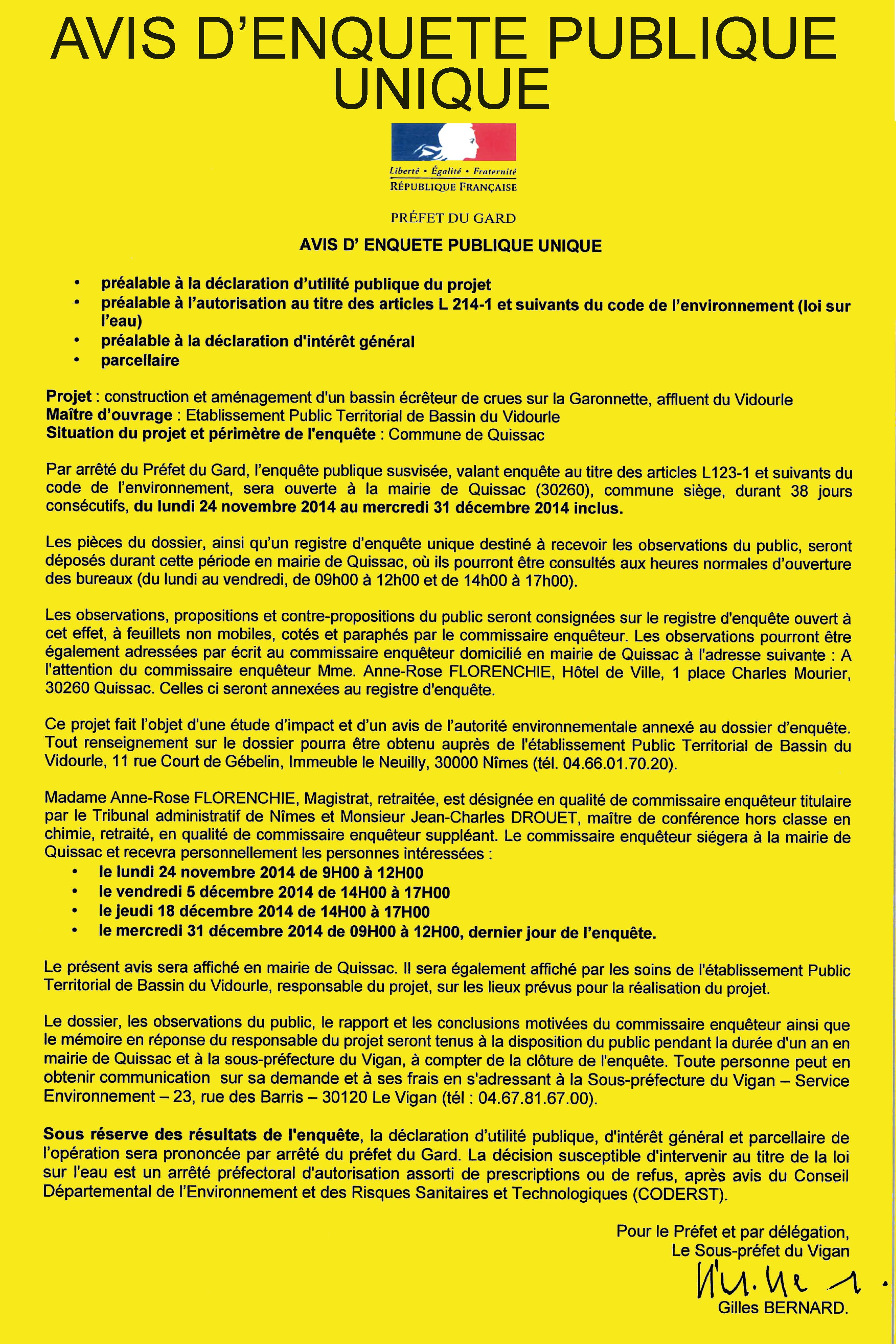 Enquête publique – Bassin de la Garonnette – Quissac – Lundi 24 Novembre 2014 au 31 décembre 2014