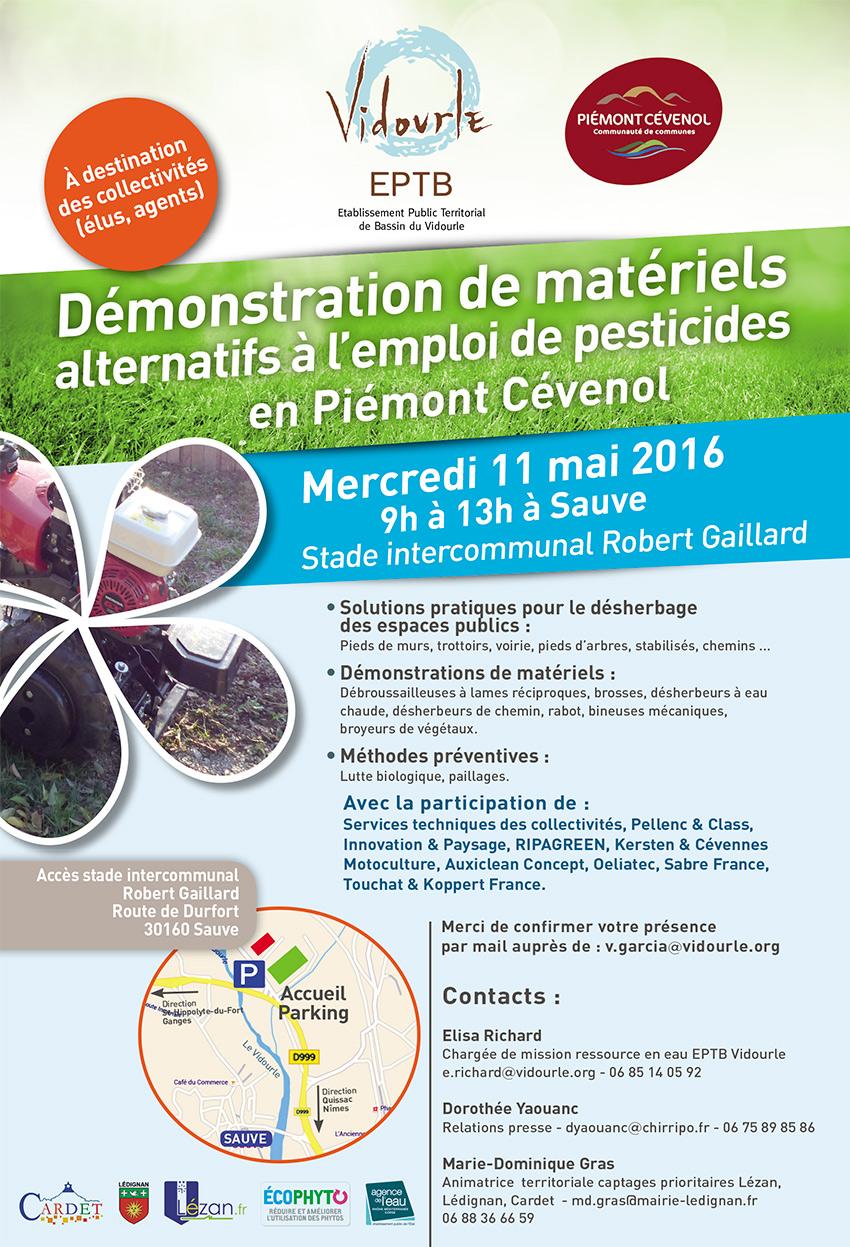 Mercredi 11 mai à Sauve : Matinée de démonstration, aux élus et agents des collectivités, de matériels alternatifs à l'emploi de pesticides
