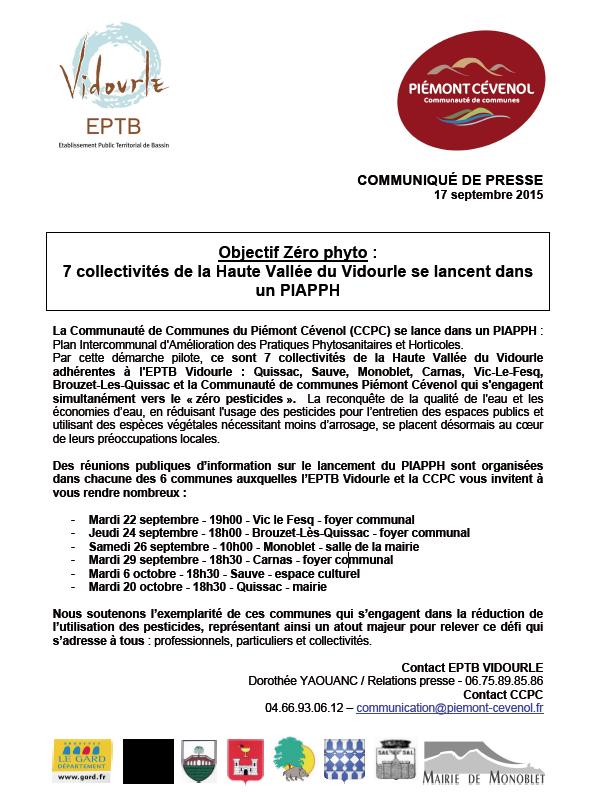 Réunions publiques : 7 collectivités de la haute vallée du Vidourle s'engagent dans le Zéro pesticides !
